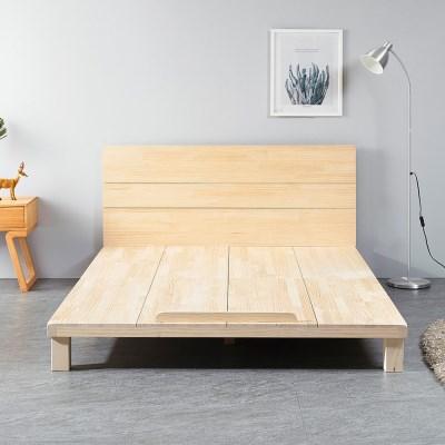 [리코베로]대청마루 소나무원목 평상형 저상침대 퀸사이즈 헤드포함