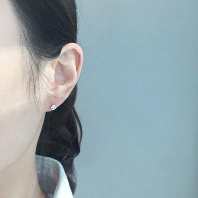 Silver 925 타이니베이비 원포인트 큐빅 귀걸이