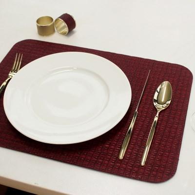 아르떼펠레 악어가죽무늬 양면 테이블매트 와인/네이비 1P