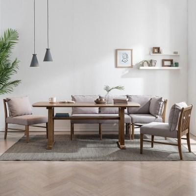 잉글랜더 베로나 리빙다이닝 6인용 고무나무 원목 식탁