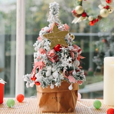 라마스 레드체크 크리스마스 눈꽃 미니트리 45cm+앵두전구 장식