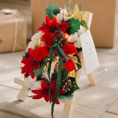 [선물포장] 플체리마 크리스마스 미니화환트리+LED전구 장식 소품