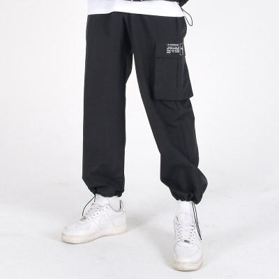 (UNISEX)Wearable Stopper Cargo Pants(BLACK)