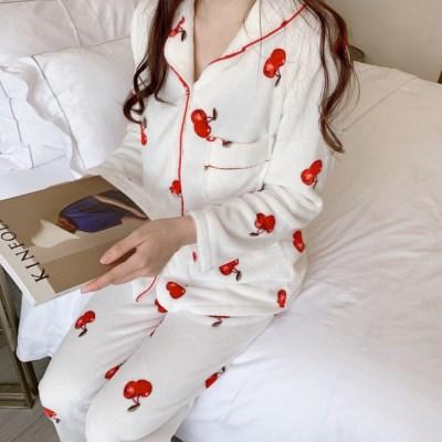 체리 극세사 겨울 수면 잠옷 세트