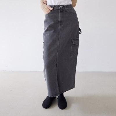 [skirt] 그레이 데님 스커트_(1377229)