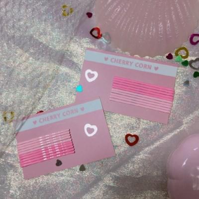 [체리콘] 핑크 컬러 실핀 (10개입)