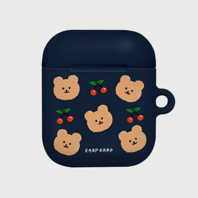 Dot cherry bear-navy(Hard air pods)_(1369758)