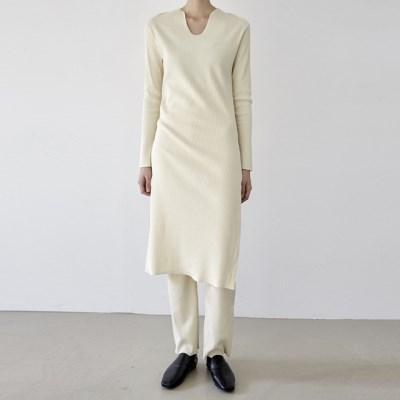[dress] 골지 원피스 팬츠 세트_(1378870)