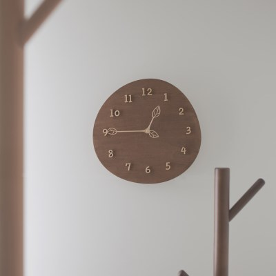 [Banana] 몽글잎새 월넛 무소음 인테리어 벽시계