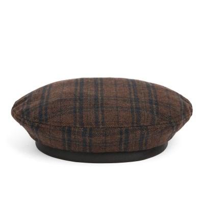 WD TARTAN CHECK FLAT BERET (brown)