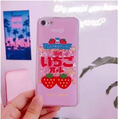 [헬로래빗]메이지딸기우유 아쿠아 글리터 핸드폰 케이스
