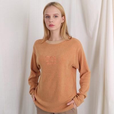 [TOi] 자수 로고 넥 포인트 긴팔티셔츠 오렌지