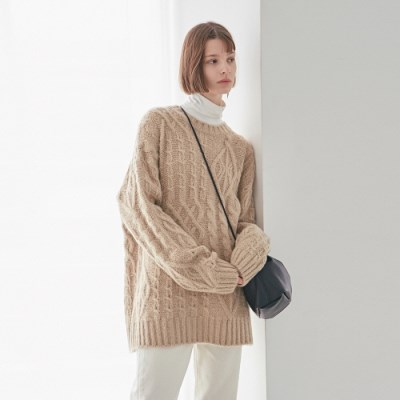 CABLE OVER SWEATER_LIGHT BEIGE