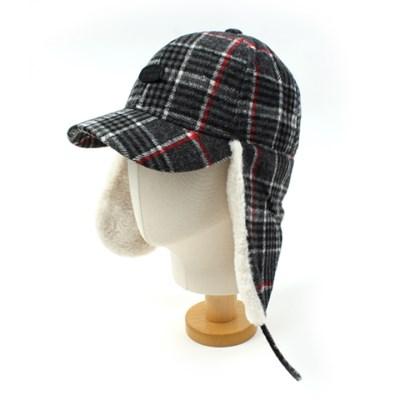 Black Check Earflap Cap 귀달이모자