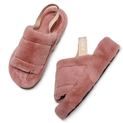 kami et muse Elastic band strap fur sandals_KM19w133