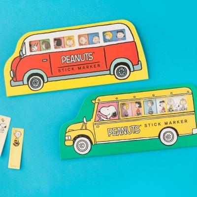 스누피 피너츠 버스 bus 점착 메모 포스트잇