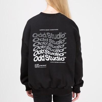오드스튜디오 웨이브 맨투맨 티셔츠 - BLACK