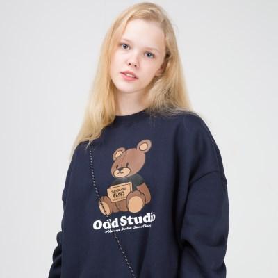 오드스튜디오 브라우니 맨투맨 티셔츠 - NAVY