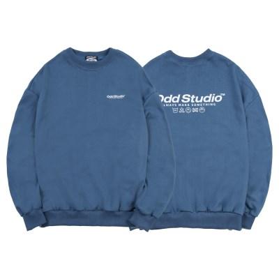 오드스튜디오 베이직 맨투맨 티셔츠 - DUST BLUE