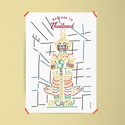 웰컴투 타일랜드 M 유니크 인테리어 디자인 포스터 태국 방콕
