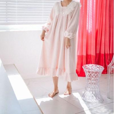 여성 겨울 원피스 극세사 수면 잠옷