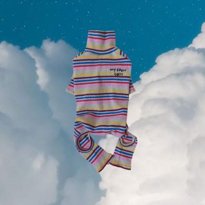 Rainbow stripe all in one (sky blue)