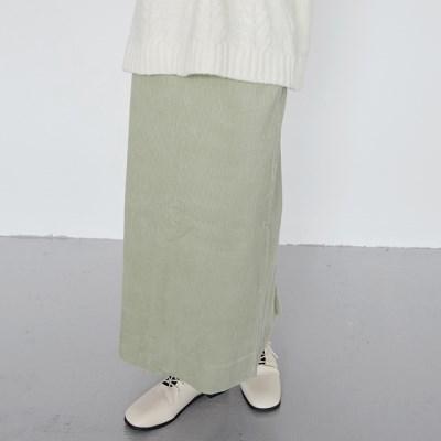 corduroy h-line long skirt (mint)_(1384101)