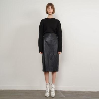 Patricia Leather Slit Skirt_Black_(35909)