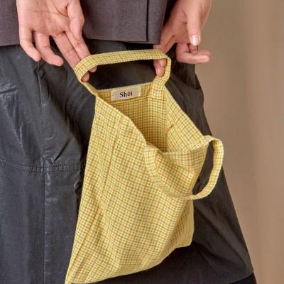 패턴 미니 에코백 - yellow check