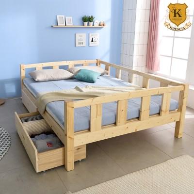 세이퍼 원목 서랍형 침대 프레임  Q+견양면매트