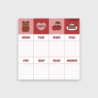 Weekly kids bear-red(떡메모지)_(1386679)