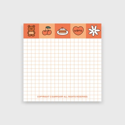 Grid kids bear-orange(떡메모지)_(1386680)