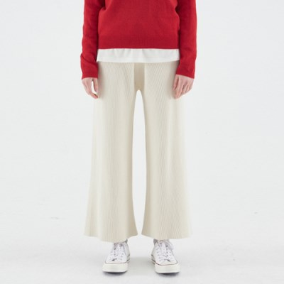 KNIT WIDE BANDING PANTS_IVORY