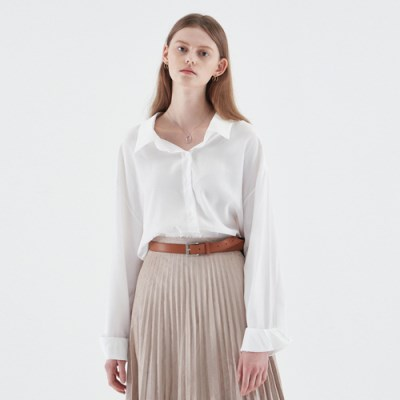 SILKY SHIRTS BLOUSE_IVORY