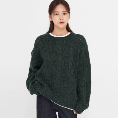 once wool cabled round knit_(1388148)