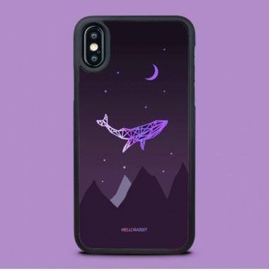 [헬로래빗]하늘고래 퍼플 TPU범퍼 핸드폰케이스