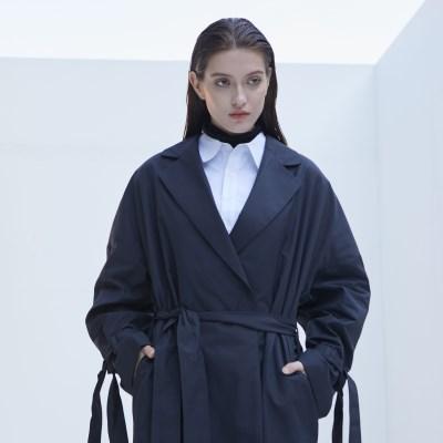 Long Robe Trench Coat (Dark Navy)