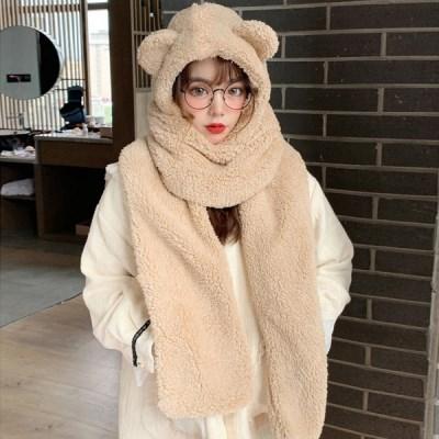 쏘큐티 겨울 곰돌이 퍼 목도리 털모자  인싸템_(2281133)