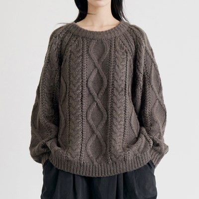 cable loose sweater (3colors)_(1388242)