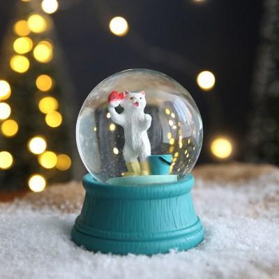 크리스마스 펫 스노우볼 동물 워터볼 M - 고기잡는고양이