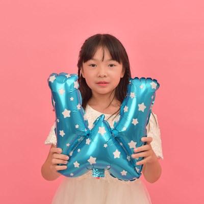 파티복닷컴 이니셜 알파벳 풍선 블루 W 중형 1개입 (PA01_16B_W)