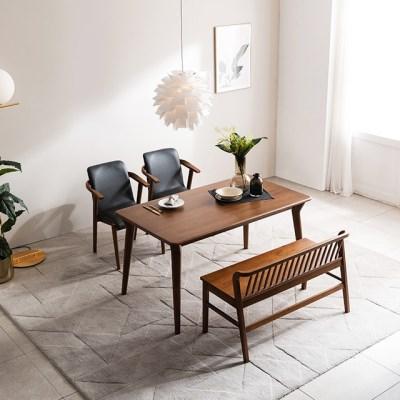 [채우리] 나스르 원목 4인 식탁 세트(의자/벤치)