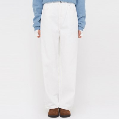 a white cotton straight pants (s, m)_(1388827)