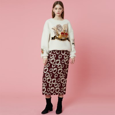 Banding Skirt_Burgundy