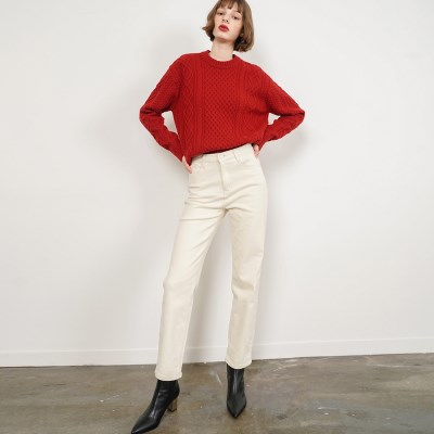 Isabel Straight Cotton Pants_Ivory_(38528)