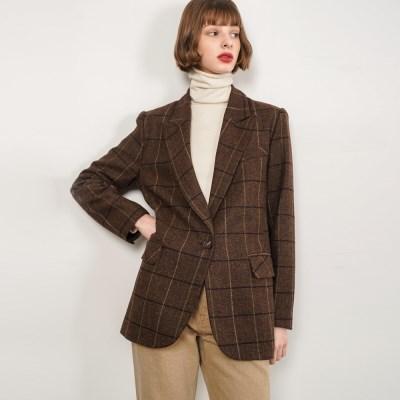 Hazel Check Half Coat_Brown_(38522)