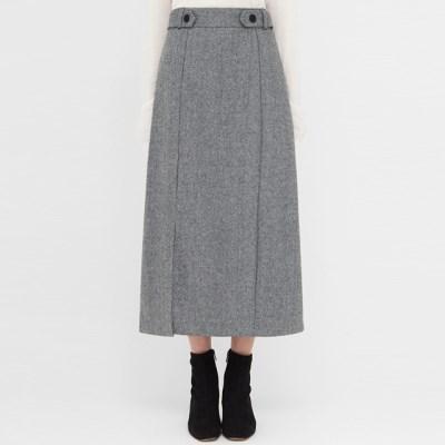 herringbone buckle wool slit skirt_(1389685)