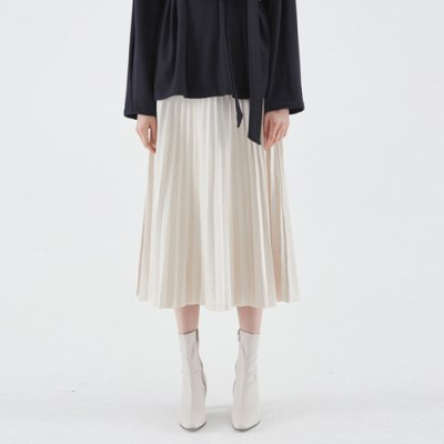 SUEDE PLEATS LONG SKIRT_CREAM