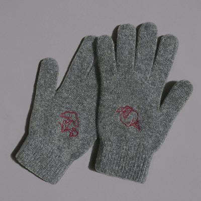 십장생 자수 장갑(wool) - charcoal
