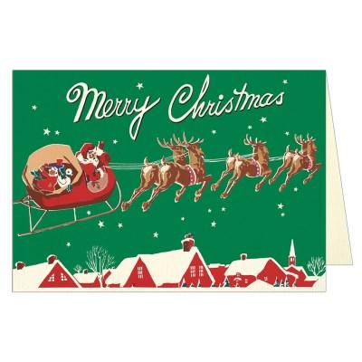 카발리니 크리스마스카드 - 산타와 썰매